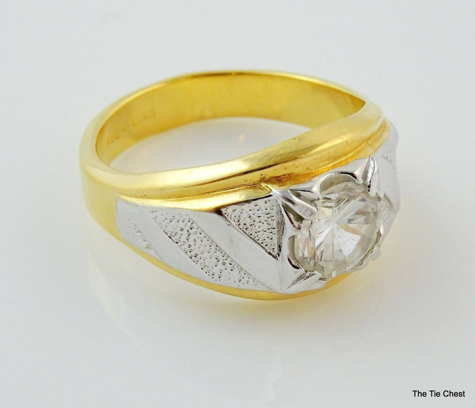 Popular Mens Ring Size 13 14KT HGE Lind Two Tone Costume Jewelry FT46