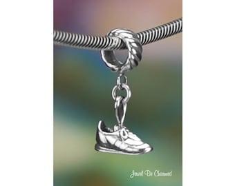 Sterling Silver Sneakers Charm or Bracelet Walking Running Shoe .925