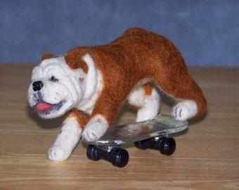 Bulldog needle felted dog example custom made to order