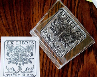 Personalized Twined Grape Vines Ex Libris Bookplate add your name A16