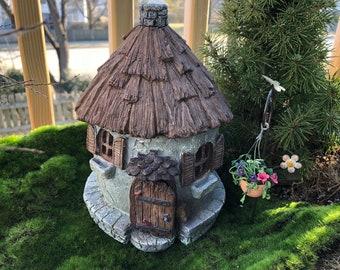 "Fairy Garden House, ""Nutty Nook"" With Hinged Door, Resin Garden House, Mini Stone Look House, Fairy Garden Accessory, Home & Garden Decor"