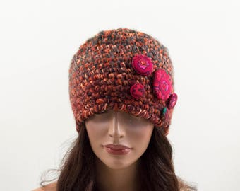Crochet Beanie Hat - Brown, Orange, Gray and Red, Size L, Gift for Her, Autumn Color Hat, Bright Accessory