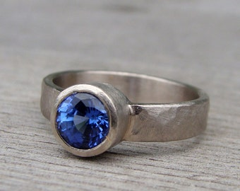 Chatham Lab-Created Cornflower Blue Sapphire and Recycled 18k Palladium White Gold Ring, Eco-Friendly Wedding/Engagement, Made to Order