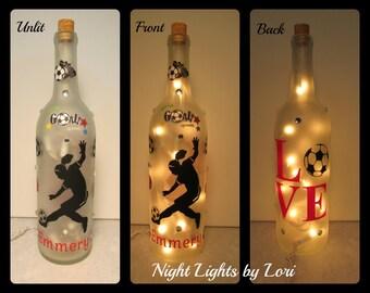 Soccer Wine Bottle Night Light/Personalized