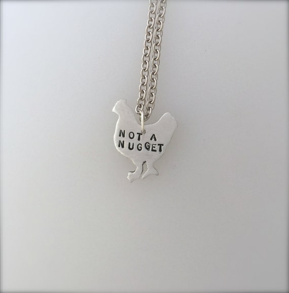 New-Mini Not a Nugget Chicken Necklace-Vegan Necklace-Vegan Jewelry-Vegan gift-Rescue chicken-Eco Friendly