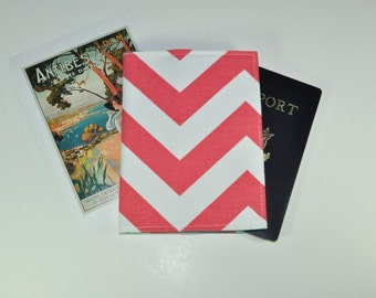 Coral Chevron Passport Cover // Coral and Turquoise Passport Protector - Fabric Midori Fauxdori Pocket Notebook Case - Made to Order