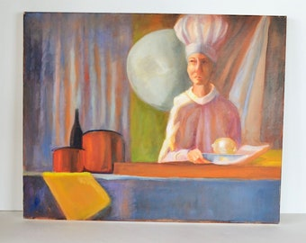 """Modern Kitchen Chef with Onion, Pots & Bottle, Unsigned, Oil on Canvas 16"""" x 20"""""""