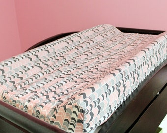 Gray and Pink Chevron Contoured Changing Pad Cover and Crib Sheet