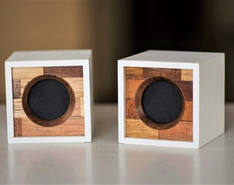Bluetooth Speakers for mobile phones Portable Computer wireless Speakers Made of exotic wood Two audio