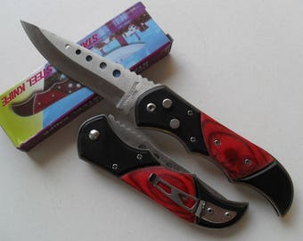 Colorful Folding Pocket knife blade steel 9 cm round resin 11.5 cm
