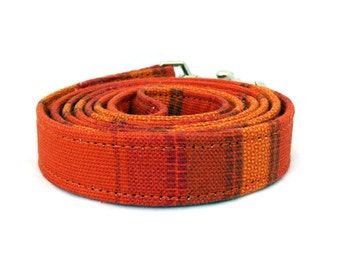 Orange dog leash - Striped pet lead - Orange striped dog lead - Bright orange leash for joyful dogs