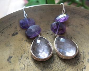 "Rose Amethyst and Silver ""Daniella"" Earrings - Rose Amethyst Gemstone - Sterling Silver - Gemstone Jewelry"