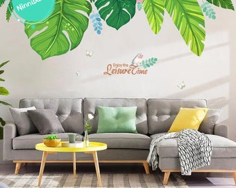Large Wall Decal Fresh Green Palm Leaves Wall Stickers, Removable Vinyl Wall  Decals