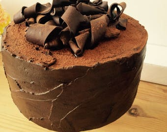 6in fake chocolate fudge cake