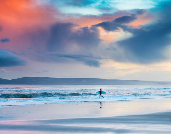 Sunset Surfing, surfing pictures, seascape prints, Dorset prints, sunset, limited edition print, photographic print