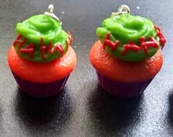 Handmade Joker Cupcake Polymer Clay Charm Pendant Jewelry Batman Gotham Villain DC Comics Universe Suicide Squad New 52 Puddin'