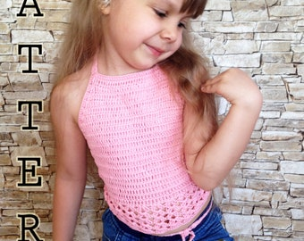 Crochet toddler top PATTERN Pink open back halter top Boho wrap toddlers top Pattern Beach clothing High neck top Crochet children pattern