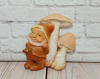 Vintage Ceramic Chalkware Painted Mushroom Gnome Wall Hanging Miller Studio