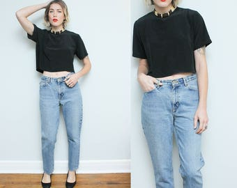 Ralph Lauren Denim Jeans // 90s High Waist Blue Jean Pants // Relaxed Fit Tapered Size 8 Small 31 Inseam