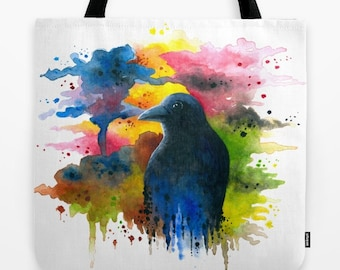 Tote Bag Bird 71 Crow Raven Watercolor splash All over print from art painting L.Dumas Artbylucie Totes