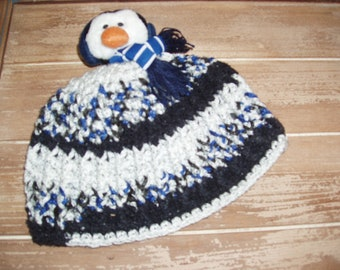 Crochet Baby Penguin Hat sized to fit newborns to 6 months