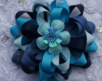 blue hair bow,  baby blue hair bow,christening hair bow, holiday hair bow,baptism hair bow, baby hair bow, Christmas hairbow