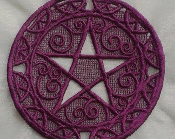 UK purple Gothic Wiccan Pagan lace pentacle applique, patch for altar cloth