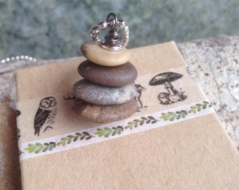 Rock Cairn Necklace, Find Your Path, Beach Stones