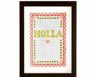 "PDF Pattern for ""Holla"" Decorative Cross Stitch Art (5x7)"