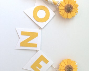 Sunflower Cake Topper in White and Yellow.  Dimensional Sunflower.  Baby Shower or Birthday Cake Topper.  Smash Cake