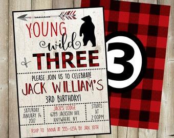 Boy's 3rd Birthday Invitation - Young Wild Three - Lumberjack Theme  - DIGITAL FILE