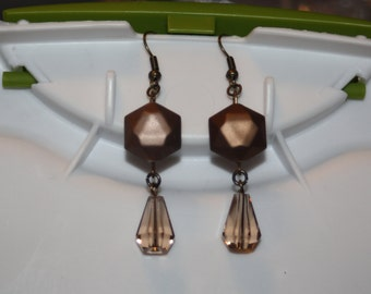 Faceted Bronze Drop Earrings