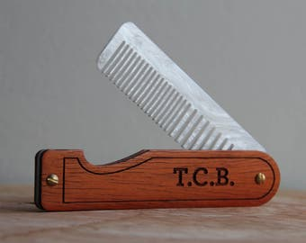 Hair Comb - Personalized Folding Pocket Comb for Men or Women - Padauk and White Mother of Pearl Acrylic - Made in Texas