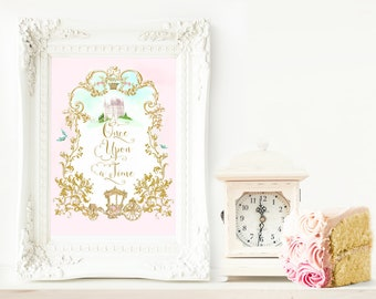 Once Upon a Time, printable, nursery decor, Birthday print, Girls room decor, Instant Download, A3, 11x14, 8x10, 5x7