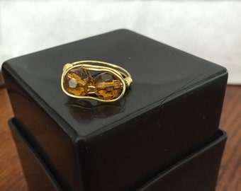 FREE SHIPPING! Brown/Gold Ring Wire Wrapped - Size 6