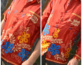 Men's Handmade Sari Silk Button Down, Short or Long Sleeve Dress Shirt - Rust with Blue Ivory Floral - Large or XL - Yannick I925