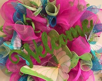 Butterfly Deco Mesh Wreath