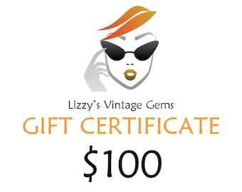 Digital Lizzy's Vintage Gems Gift Certificate 100.00 / Shop Gift Certificate / Buy Gift Certificate / Prepaid Gift Certificate