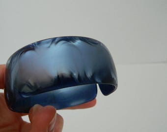 Vintage Wide Blue Pearloid Cuff Bracelet