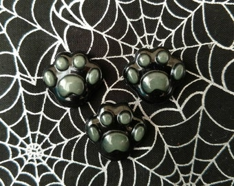 Resin Paw Print Pin, Black and Green Glow in the Dark