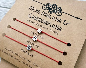 Mother Daughter Granddaughter Gift For Mother Daughter Granddaughter Bracelet Grandmother Mother Daughter Jewelry Mom Daughter Granddaughter