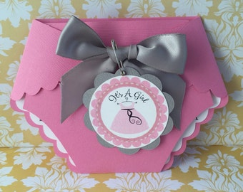 Baby Shower Diaper Invitations 25 Pink Baby Shower Diaper
