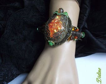 Orange and Green Victorian Bracelet, Art Nouveau Bracelet, Victorian Jewelry, Art Nouveau Jewelry, Orange Jewelry, orange Cuff Bracelet