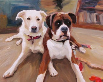 Dog Painting Pet Portrait Custom Oil on Canvas Stretched & Ready to Frame