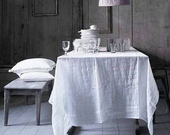 Ivory White Linen Tablecloth. Stone Washed Linen Table Cloth. Shabby Chic  Loook Off White Tablecloth. Table Linens. Handmade Tablecloth.