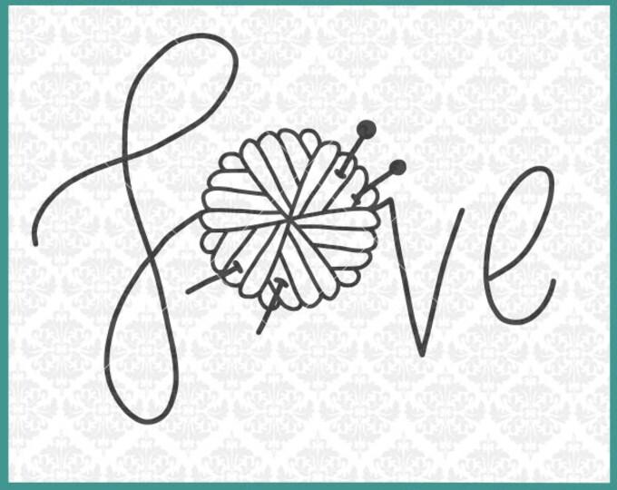 Knitting svg, Knitter Svg, Love yarn ball svg, Hand Lettered Svg, Yarn Ball Svg, Knit Svg, Knitting shirt svg, Cricut, Silhouette, Cut File