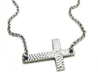 Large hammered sideways cross necklace