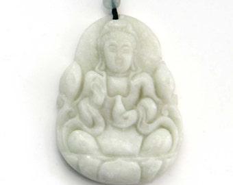 Talimsan Natural Stone Female Buddha Kwan-Yin Guanyin Amulet Pendant 45mm x 35mm  TH237