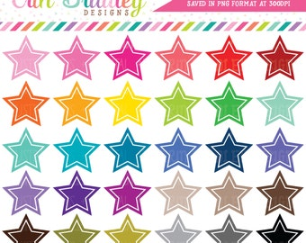 Star Clipart Graphics Instant Download Shape Clipart Personal & Commercial Use - 30 Colors