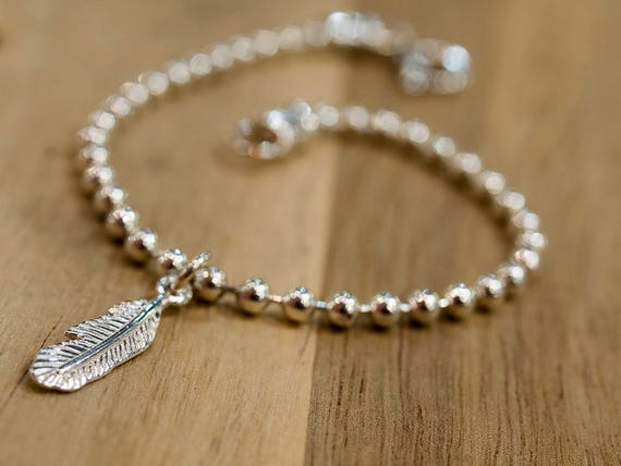 Sterling Silver Bracelet Feather Charm Femme For Her